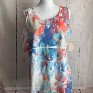 Coldwater Creek Floralwash Tiered Top XL (16)NWT